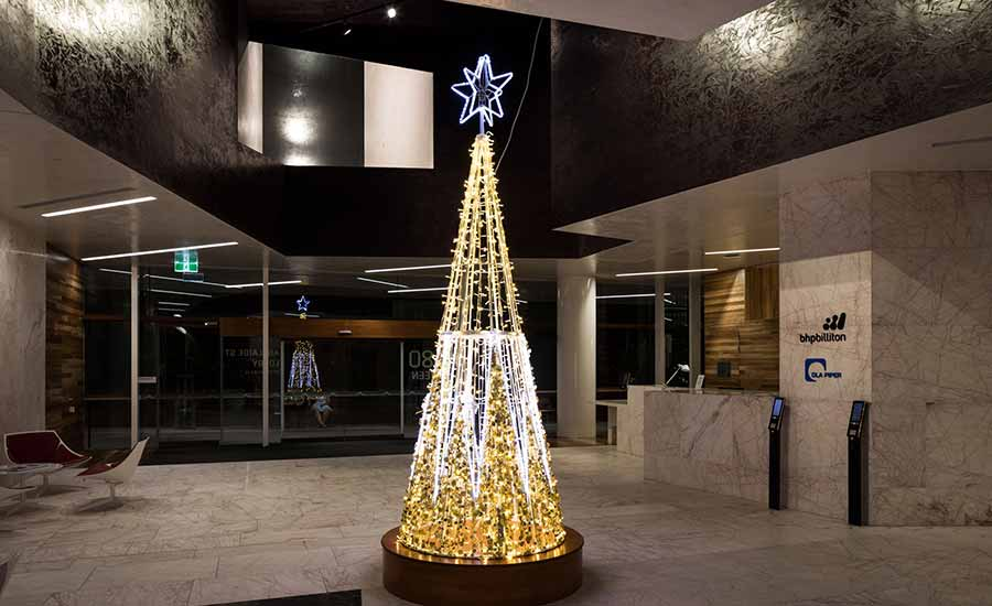 Commercial office foyer christmas decoration